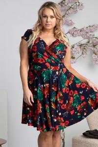 Sukienka KARKO z tkaniny z krótkim rękawem mini