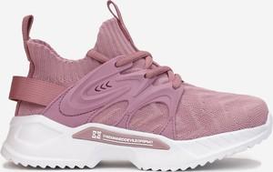 Różowe buty sportowe dziecięce born2be ze skóry dla dziewczynek sznurowane