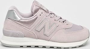 Fioletowe buty sportowe New Balance z płaską podeszwą ze skóry