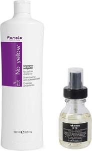 Fanola No Yellow and OI Oil | Zestaw do włosów: szampon minimalizujący żółty odcień włosów blond 1000ml + olejek 50ml - Wysyłka w 24H!