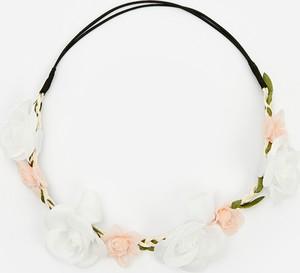 Reserved - Opaska do włosów z kwiatami - Biały