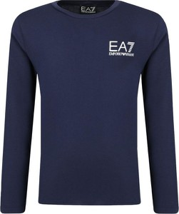 Niebieska koszulka dziecięca EA7 Emporio Armani z długim rękawem
