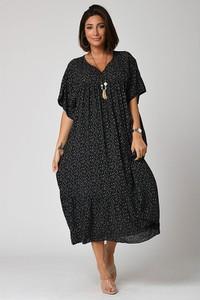 Sukienka Plus Size Fashion z dekoltem w kształcie litery v midi