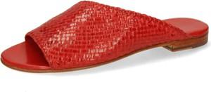 Czerwone klapki Melvin & Hamilton ze skóry z płaską podeszwą