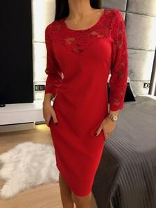 Czerwona sukienka ModnaKiecka.pl mini z długim rękawem