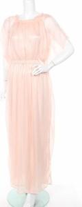 Różowa sukienka Mela London z okrągłym dekoltem maxi