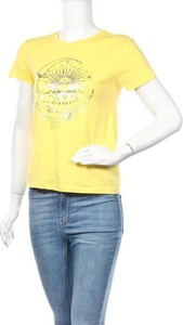 Żółta bluzka CLOCKHOUSE z okrągłym dekoltem z bawełny z krótkim rękawem