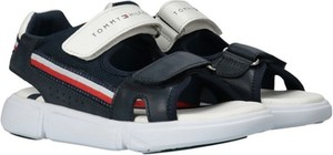 Granatowe buty dziecięce letnie Tommy Hilfiger ze skóry na rzepy dla chłopców