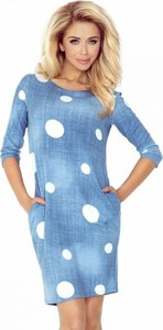 Niebieska sukienka NUMOCO z jeansu z okrągłym dekoltem z długim rękawem