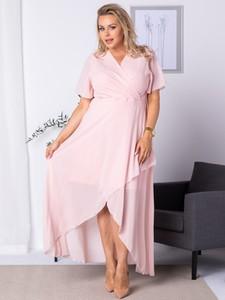 Sukienka KARKO z dekoltem w kształcie litery v maxi z tkaniny