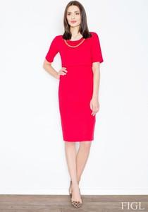 Czerwona sukienka Figl z krótkim rękawem midi z okrągłym dekoltem