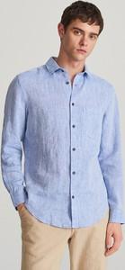 Niebieska koszula Reserved z lnu z długim rękawem