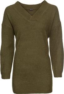 Zielony sweter bonprix BODYFLIRT z dzianiny