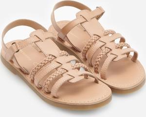 Brązowe buty dziecięce letnie Reserved ze skóry