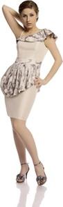 Sukienka Fokus midi asymetryczna w stylu glamour