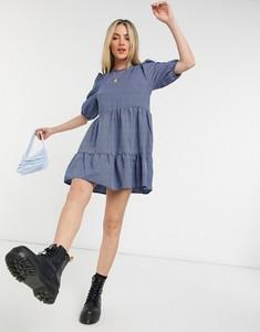 Niebieska sukienka New Look z długim rękawem z okrągłym dekoltem w stylu casual