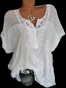 Bluzka Cikelly z dekoltem w kształcie litery v z bawełny z długim rękawem