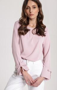 Różowa bluzka Renee z okrągłym dekoltem w stylu casual