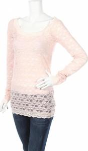 Różowa bluzka Free People w stylu glamour z długim rękawem