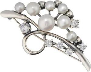Polcarat Design Broszka z perłami i cyrkoniami B 201