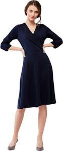 Niebieska sukienka Marie Zélie midi z długim rękawem