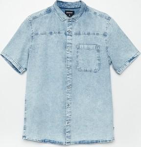 Niebieska koszula Cropp z jeansu z krótkim rękawem