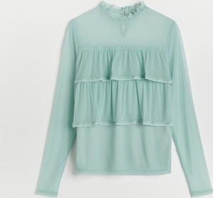 Turkusowa bluzka Reserved z długim rękawem w stylu casual