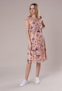 Sukienka Ptakmoda.com z tiulu kopertowa midi