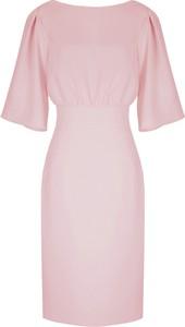 Różowa sukienka Kasia Zapała mini z okrągłym dekoltem