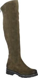 Kozaki SIMEN z weluru z płaską podeszwą w stylu casual