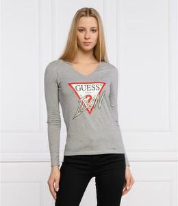 T-shirt Guess z długim rękawem w stylu casual z okrągłym dekoltem