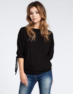 Czarna bluzka Be z długim rękawem w stylu casual z okrągłym dekoltem