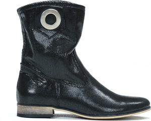 Czarne botki Zapato na obcasie ze skóry