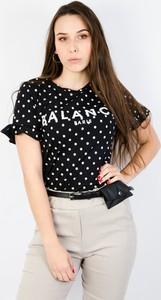 Czarny t-shirt Olika z krótkim rękawem w stylu casual