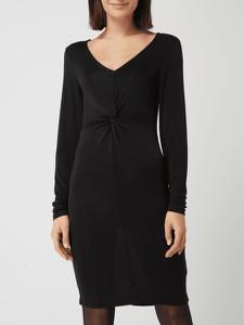 Czarna sukienka Kaffe w stylu casual z długim rękawem z dekoltem w kształcie litery v