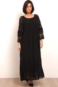 Czarna sukienka Plus Size Fashion maxi z okrągłym dekoltem z długim rękawem