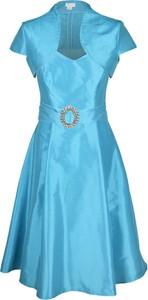 Turkusowa sukienka Fokus z krótkim rękawem