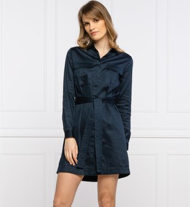Niebieska sukienka Pepe Jeans w stylu casual mini z długim rękawem