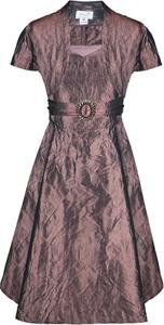 Brązowa sukienka Fokus z dekoltem w kształcie litery v z krótkim rękawem midi