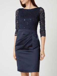 Granatowa sukienka Swing z długim rękawem mini z okrągłym dekoltem