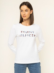 Bluzka Tommy Hilfiger z długim rękawem z okrągłym dekoltem