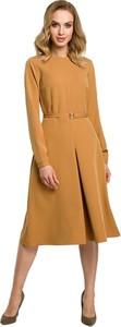 Sukienka MOE z tkaniny z długim rękawem midi