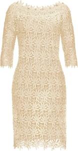 Żółta sukienka bonprix BODYFLIRT boutique z okrągłym dekoltem z długim rękawem