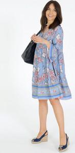Niebieska sukienka Unisono z kołnierzykiem z długim rękawem w stylu casual