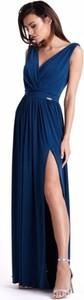 Granatowa sukienka Ivon z dekoltem w kształcie litery v z tkaniny maxi