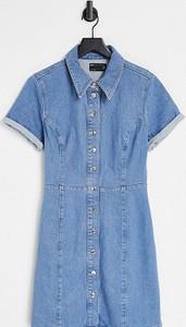 Niebieska sukienka Asos koszulowa mini z kołnierzykiem