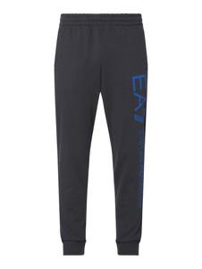 Granatowe spodnie EA7 Emporio Armani z nadrukiem z bawełny