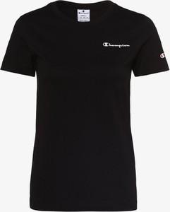 Czarny t-shirt Champion z bawełny z krótkim rękawem z okrągłym dekoltem