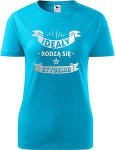 Niebieski t-shirt TopKoszulki.pl z okrągłym dekoltem w sportowym stylu z krótkim rękawem