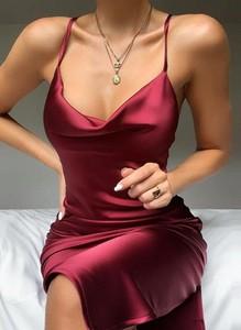 Czerwona sukienka Cikelly mini na ramiączkach